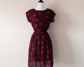 Vintage red and black abstract dress