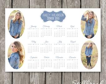 2016 Year Calendar Template - 2016 Calendar - Photo Calendar for Photographers - Printable 12 x 18 Photoshop Wall Calendar - YC04