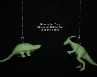 Pair of Glow in the Dark Dinosaur ceiling fan/light pull chain