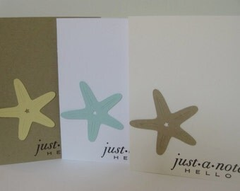 Set of 6 Starfish Note Cards, Blank Note Cards, Starfish Note Cards