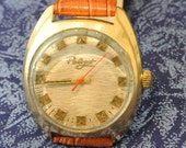 Mens watch Poljot russian watch  - GOLD PLATED ussr watch cccp  70's  SERVICED -  leather band