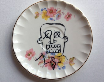 working for the man - altered vintage plate