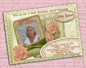 Vintage Style Women's Birthday Party Invitation With Photo 21st 30th 40th 50th 60th 70th 80th 90th - Printable DIY