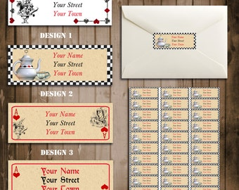 Alice in Wonderland Return Address Labels - Vintage Tea Party Collection - for Birthday, Baby Shower, Bridal shower Tea Party- Printable DIY