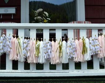 Wedding  tassel garland - Pink and gold Tassel Garland - Bridal Shower Tassels - Baby Girl Nursery - Shabby Chic Decor - Tassel Garland