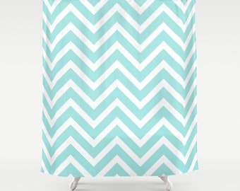 Aqua Shower Curtain, Chevron, Fabric Shower Curtain, Standard or Extra Long, Girls Bathroom Decor, Teen Girl Room Decor, Dorm Room, Bathroom