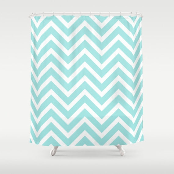 Shower Curtains Chevron Shower Curtain Aqua By BellaBellaShoppe
