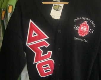 Popular items for stitch letters on etsy - Delta sigma theta sorority cardigans ...