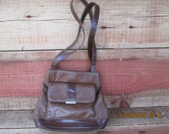 Brown Leather Rosetti Handbag