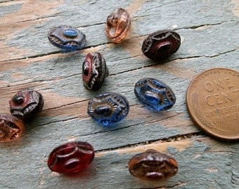 Assortment of 10 Colored Vintage Glass Buttons