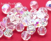 10pcs Swarovski Beads, Faceted Round -Clear AB, Iridescent Crystals, Sparkly Facets, Crystal Beads Size 6mm (D026)