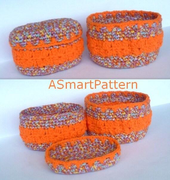 Crochet Pattern-Cotton Round Basket,Oval Cotton Basket ...
