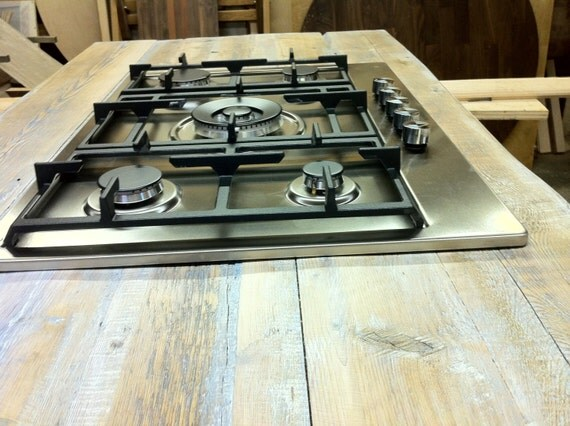 Countertop Stove Dimensions : Kitchen Countertop with cut out for stove top, Handmade Hardwood ...