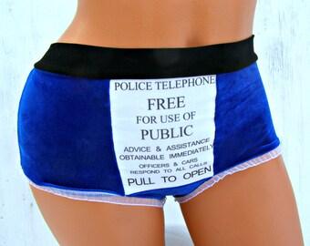 TARDIS inspired geek  Panties Lingerie your size Police box blue velvet