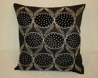 Velvet Patched Cushion with Sequins & Beaded Chain