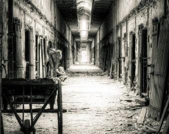 Eastern State Penitentiary Historic Site, Philadelphia, PA.  Urbex, urban decay prison cellblock hallway 2