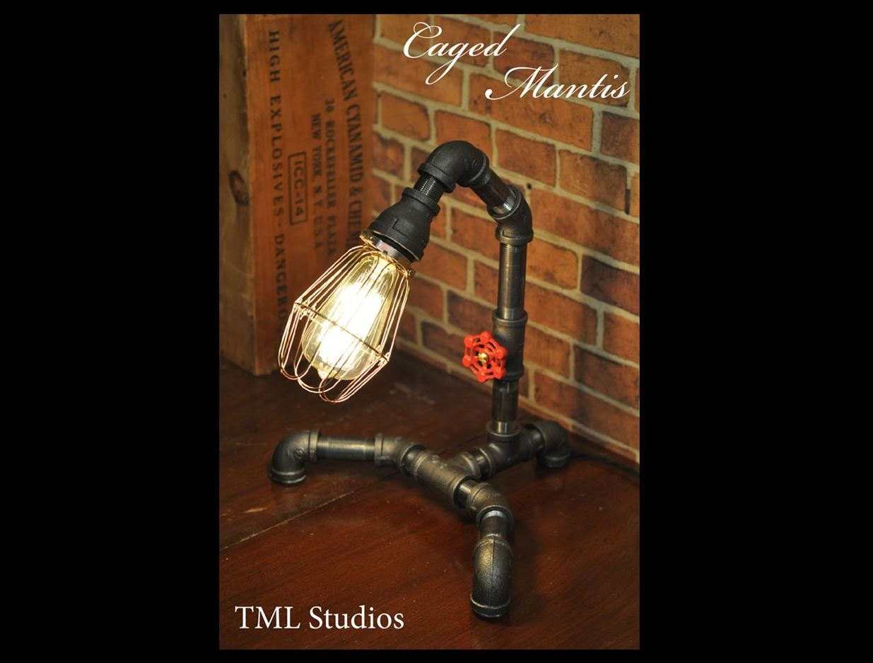 industrial plumbing pipe edison light fixture desk lamp. Black Bedroom Furniture Sets. Home Design Ideas