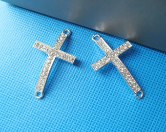 24.00mmx42.80mm Shining Silver tone Sideway Rhinstones Cross Connector Pendant Charm/Finding,Dotted Rhinstones,DIY Accessory