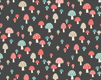 COTTON FABRIC Flo's Garden Grey Toadstools - 100% premium cotton by Makower UK