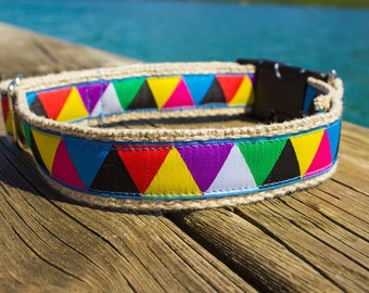 Colorful hemp dog collar with triangles, eco-friendly and adjustable