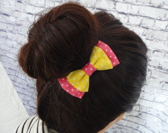 White Dotted Yellow and Pink Hair Bow Barrette For Girls