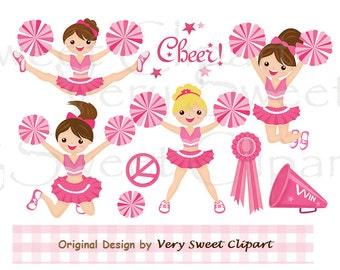 Set of 8 pink cheerleader clipart digital images