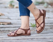 Brown Leather Sandals, Brown Sandals, Summer Shoes, Flat Sandals , Free Shipping