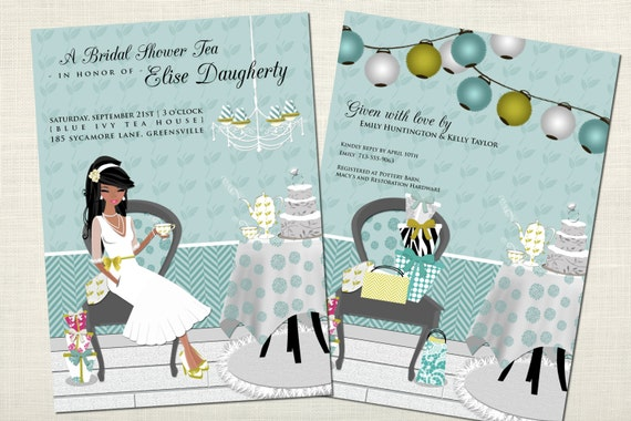 tea time bridal shower invitations african american by, Bridal shower invitations