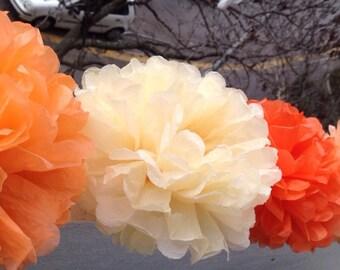 """20 Paper Pom Pom Bridal Shower Decor Tissue Pom Pom Paper Decorations Tissue Paper Flowers Wedding Decoration Paper Pom 8""""10""""12""""Peach ORANGE"""