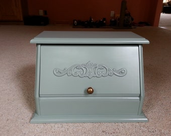 Beautiful Solid Pine Bread Box Painted in Light Sage Green
