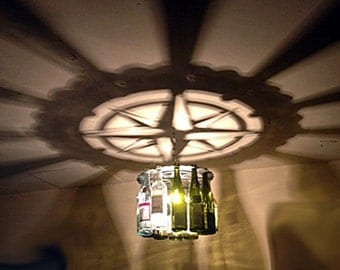 Compass Rose, wine bottle Light, Chandelier, Lighting, Nautical, Boating, Wine Bar, compass, Home Decor, Gift, Wine, Home and Living,