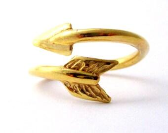 Adjustable Gold Arrow Ring
