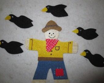 5 Crows all Shiny Black - felt set