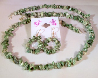 Genuine gemstone necklace with matching bracelet and earrings.Designed and crafted by Lynn Marie.