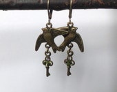 Bird earrings,dangle earrings, antique bronze lever back earrings, Swarovski crystals, key charm, vintage style earrings, handmade jewellery