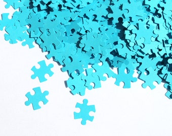 200 Puzzle Confetti, Various Colours, Rustic Wedding, Table Decor, wedding, toppers, recycled,  punch, shape puzzle, flower girl, love, blue
