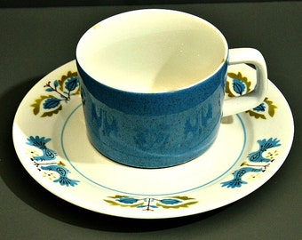 Mikasa Mediterrania Forget Me Not Cup and Saucer, Speckled Blue Bluebirds, Mid Century Modern Cup Saucer, Coffee Tea Lover