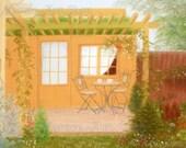 """Original Pastel drawing """"House Garden"""""""