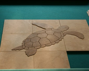 Hawaiian Sea Turtle Tile Mosaic - Swimming Profile