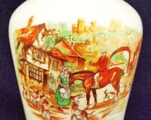 Tiny Vintage English C 1944 Sandland Ware Vase with Stirrup Cup Outside Village Inn Scene
