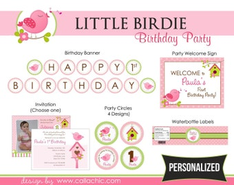 Bird 1st Birthday Party Package PRINTABLE - Girl 1st Birthday - Pink Green