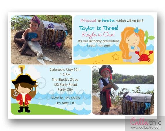 Mermaid Pirate Birthday Invitation PRINTABLE with Photo Twin