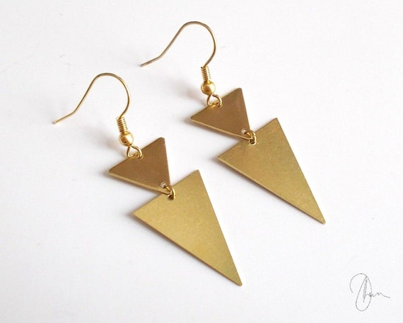 antique gold triangle earrings gold plated geometric edgy. Black Bedroom Furniture Sets. Home Design Ideas