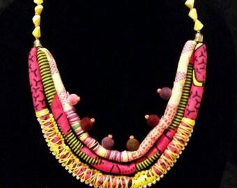 Multi Strand Ankara Statement Neckpiece Set with Beads (Pink & Yellow)