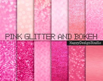 """Pink glitter digital paper pack, 12""""x12"""", commercial use, instant download"""