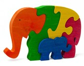 Two Elephants - Handmade Wooden Puzzle