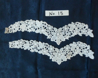 Delicate embroidered lace trim edging