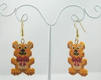 Beaded Teddy Bear with Red Bow Earrings