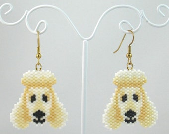 Beaded White Poodle Earrings