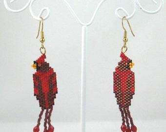 Beaded Cardinal Earrings